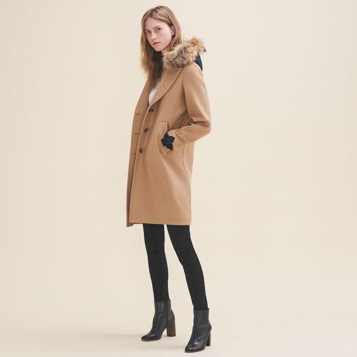 Manteau long en laine et cachemire : Manteaux couleur Camel