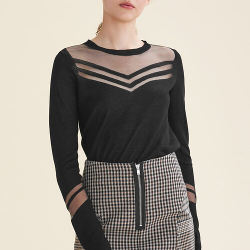 Thin jumper in a mix of materials : Knitwear color Black 210