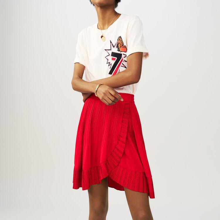 Jupe courte portefeuille plissée : Jupes & Shorts couleur ROUGE