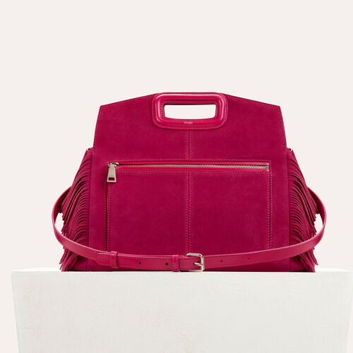 Suede shoulder bag : Bags color Raspberry