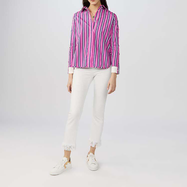 Chemise en coton rayé avec pressions : Chemises couleur Rayure
