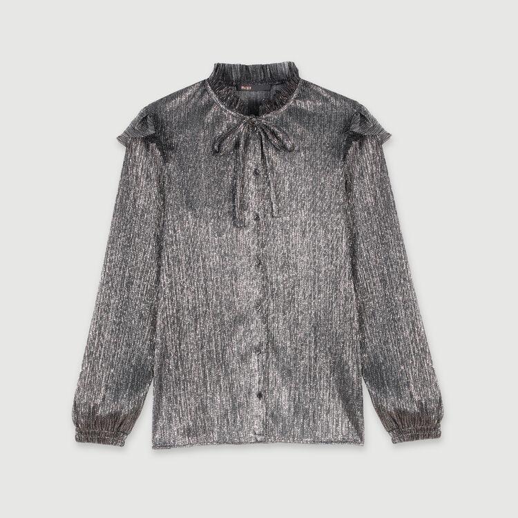 Chemise à volants en Lurex : Tops & Chemises couleur Argent
