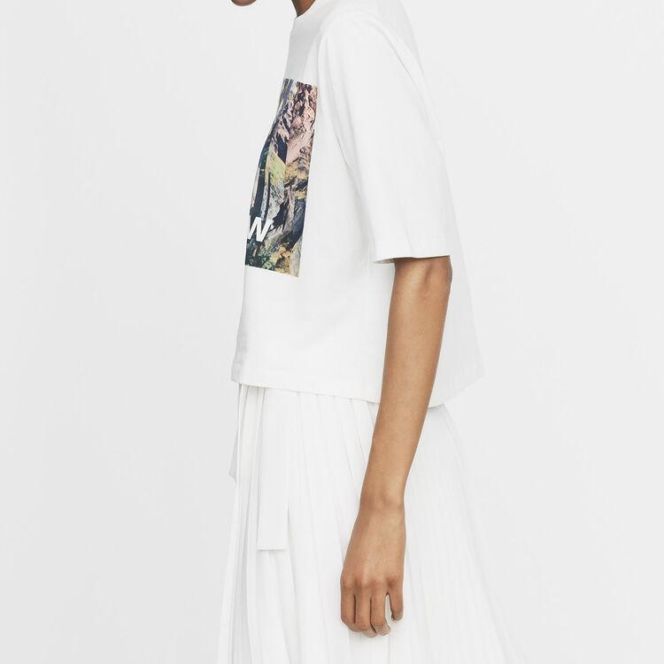Tee-shirt court imprimé : T-Shirts couleur Blanc