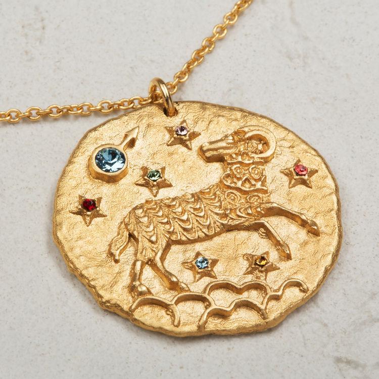 Collier Bélier signe du zodiaque : Médailles couleur OR