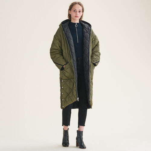 Long reversible down jacket - Coats - MAJE