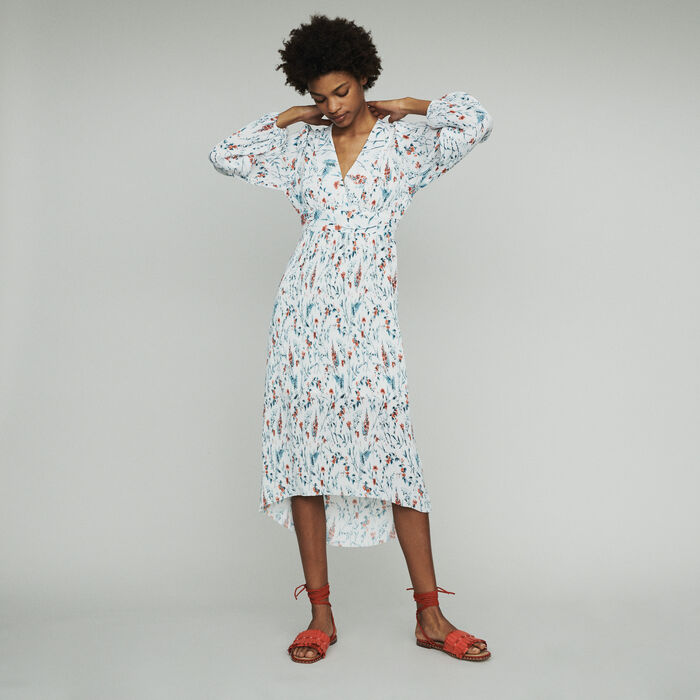 Robe longue imprimée à plissé bijou : Robes couleur IMPRIME