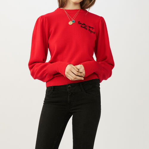 Embroidered knit sweater : Sweaters & Cardigans color ROUGE