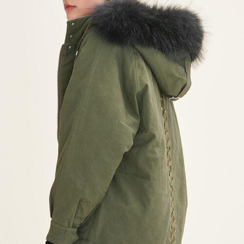 Parka avec capuche en fourrure : Manteaux couleur Kaki