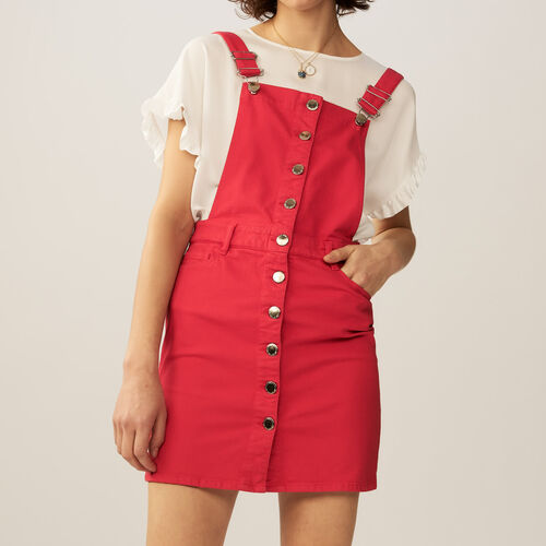 Robe-salopette en jean : Robes couleur ROUGE