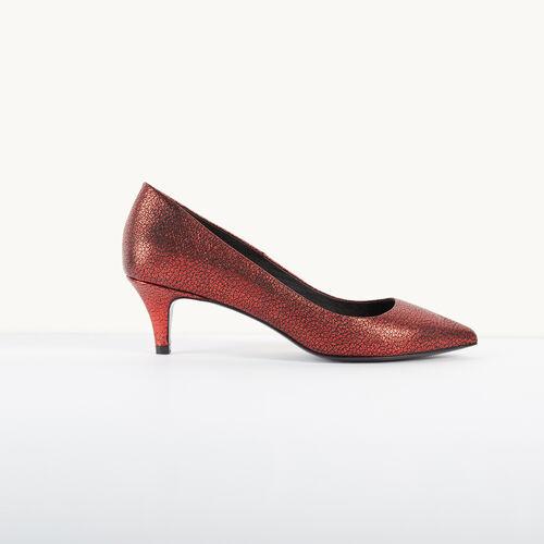 Escarpins en cuir à effet craquelé : Accessoires couleur Rouge