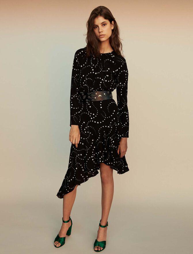 Asymmetrical printed-crepe dress - SoldesBE_ALL - MAJE