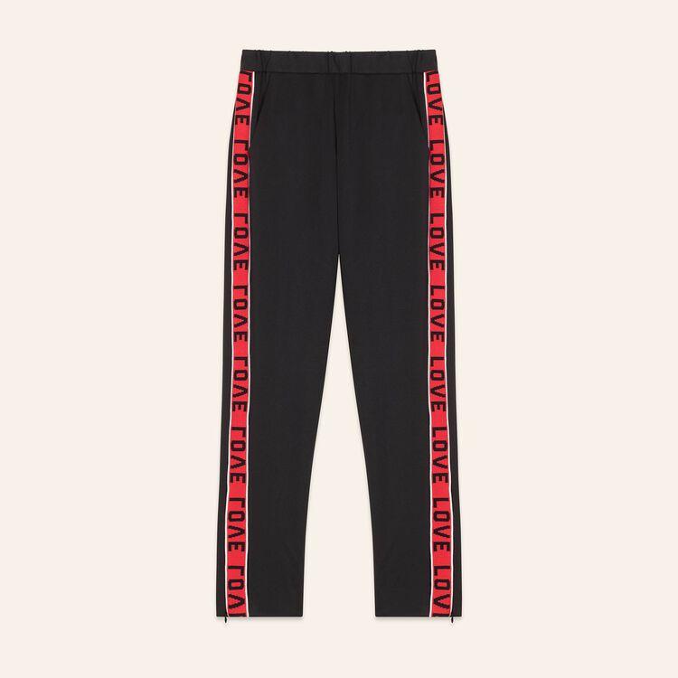 Pantalon en satin avec bandes : Prêt-à-porter couleur Black