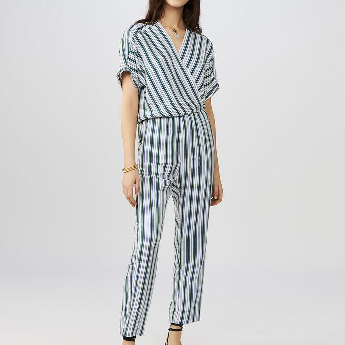 Combi-pantalon en jacquard rayé : Pantalons couleur Rayure