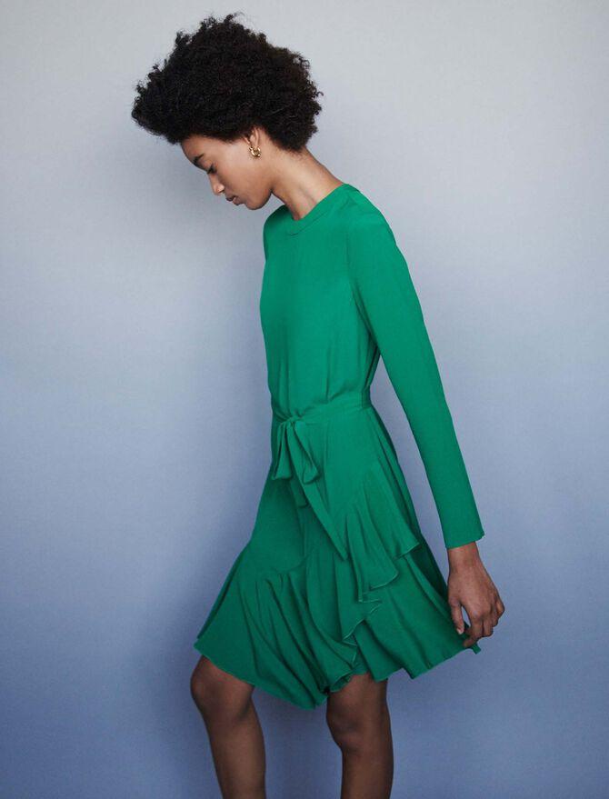 Robe en crêpe asymétrique - Robes - MAJE