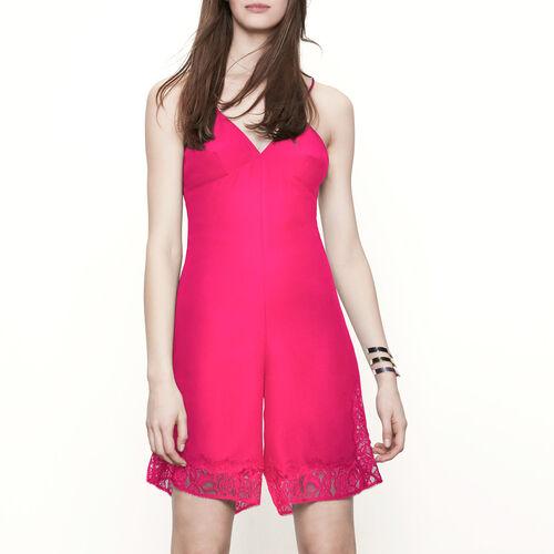 Combi-short avec détails en dentelle : Jupes & Shorts couleur FUSCHIA