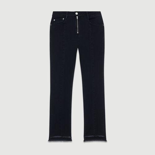 Jean asymétrique à franges : Jeans couleur GRIS