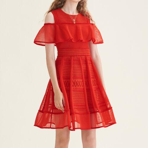Robe sans manches en maille filet : Robes couleur Rouge