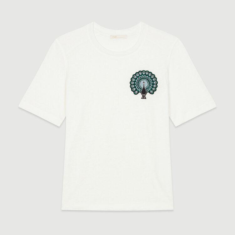 Tee-shirt avec broderie : T-Shirts couleur ECRU