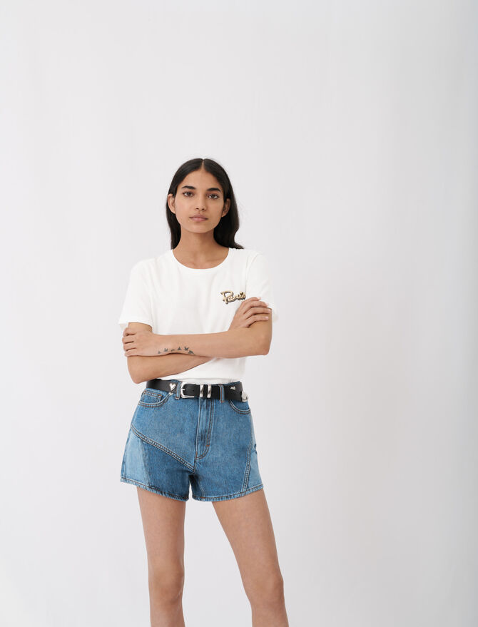 Embroidered short-sleeved T-shirt - tout - MAJE