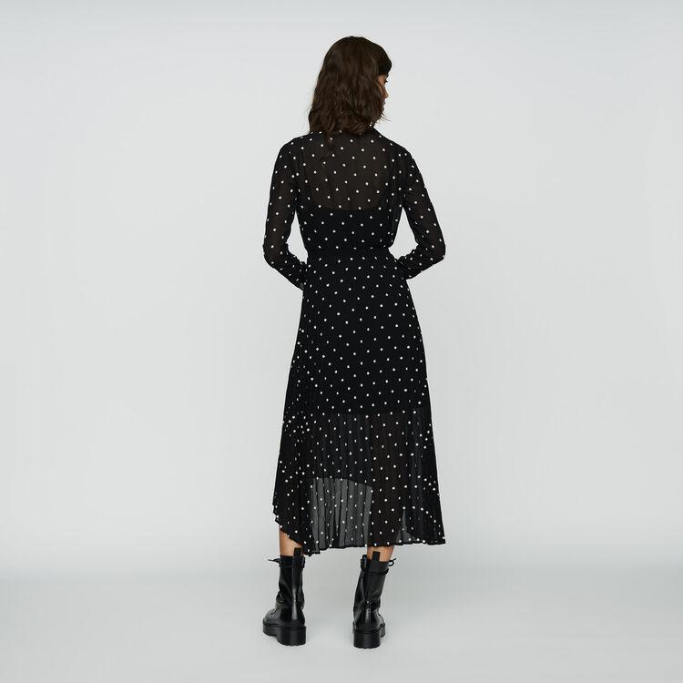 Robelongue plissée avec broderies : Robes couleur BLACK