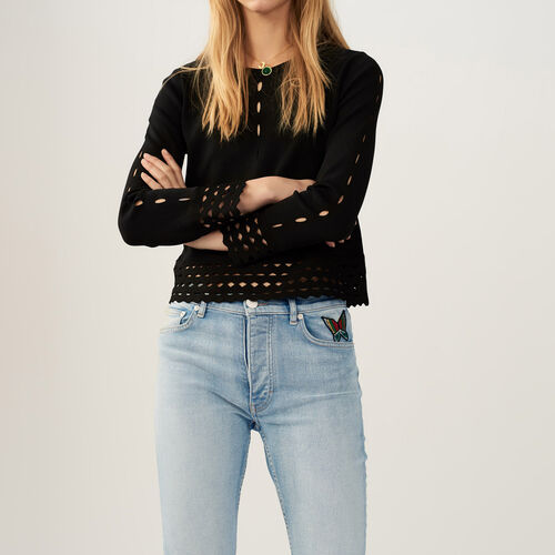 Sweater with open-knit detailing : Sweaters & Cardigans color Black 210