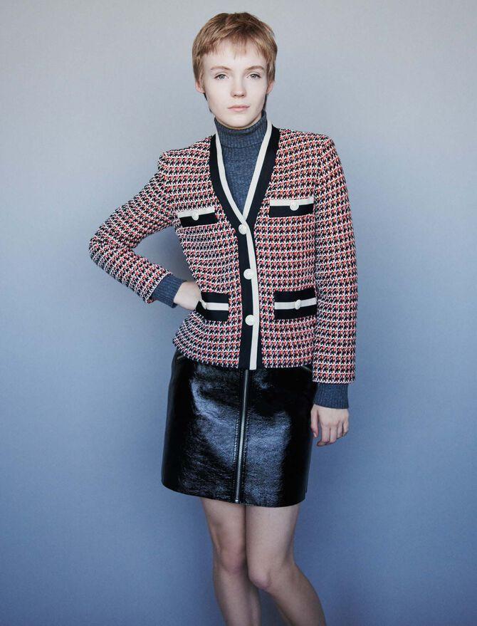 Contrast tweed-style jacket -  - MAJE