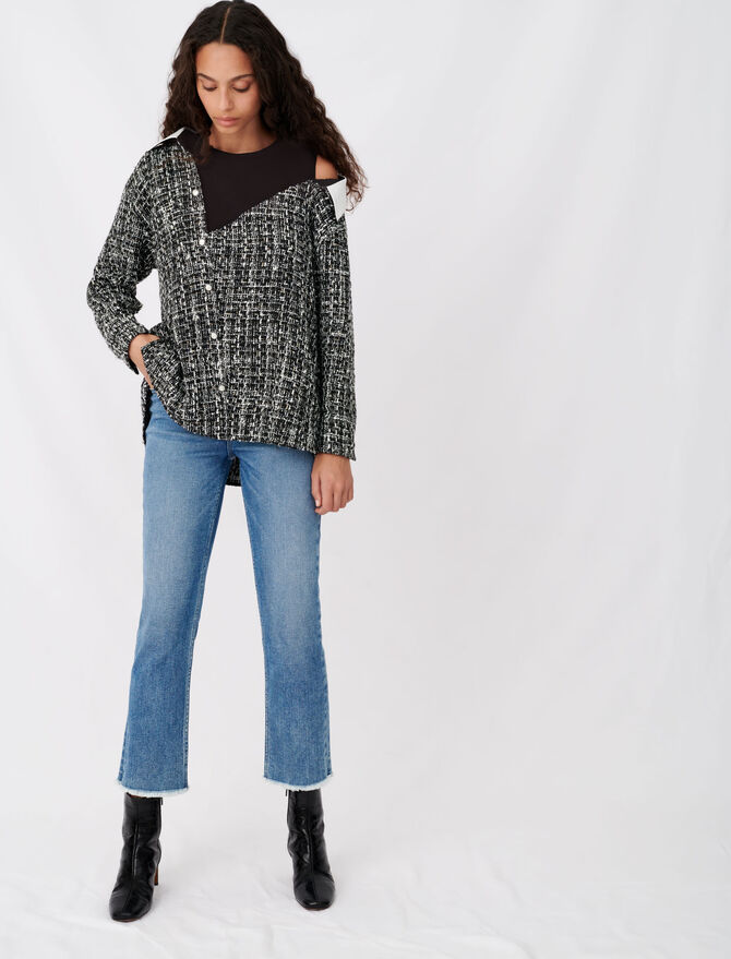 Tweed-style trompe-l'œil top - Tops & Shirts - MAJE
