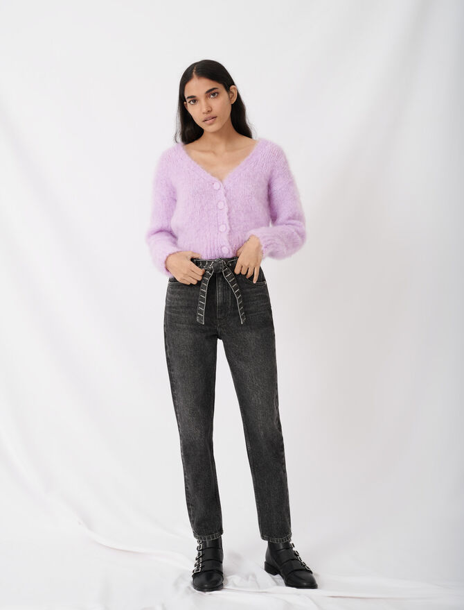 Mom jeans with rhinestone belt -  - MAJE