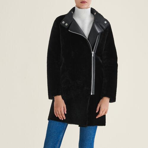 Manteau en peau lainée : Manteaux & Blousons couleur Black