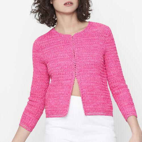 Cardigan court en maille ruban : Pulls & Cardigans couleur FUSCHIA