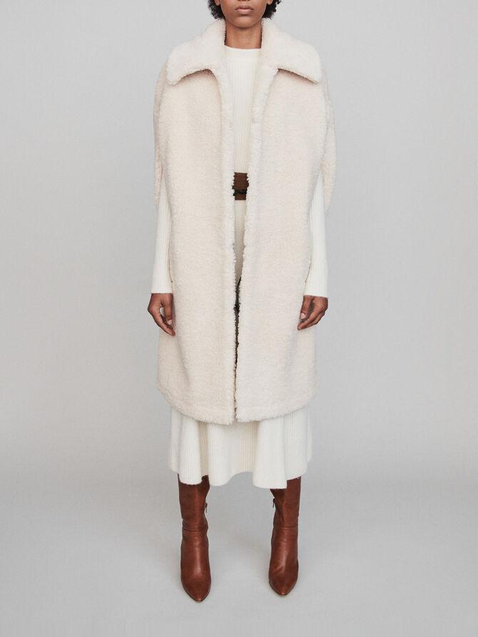 Manteau en fausse fourrure façon cape -  - MAJE