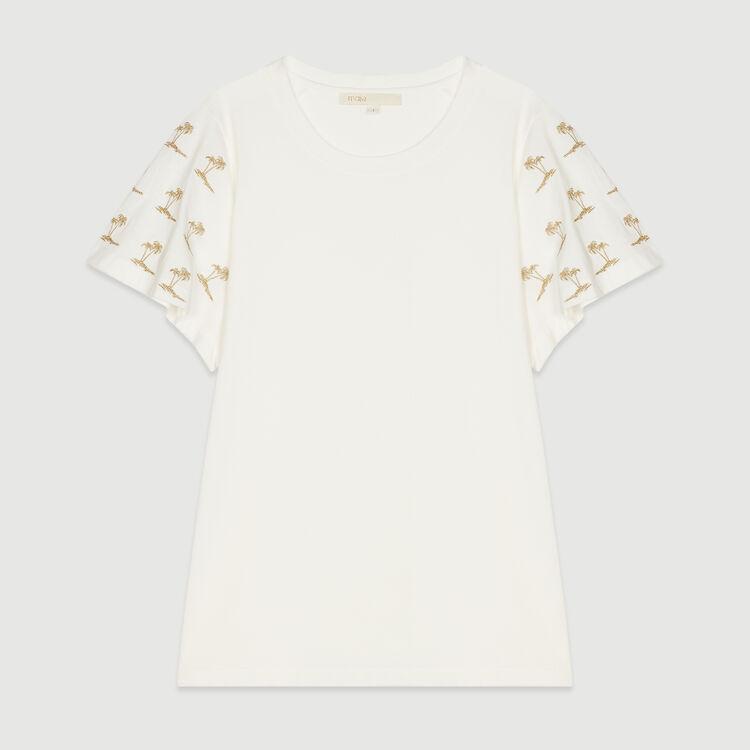 Tee-shirt avec manches brodées : T-Shirts couleur BLANC