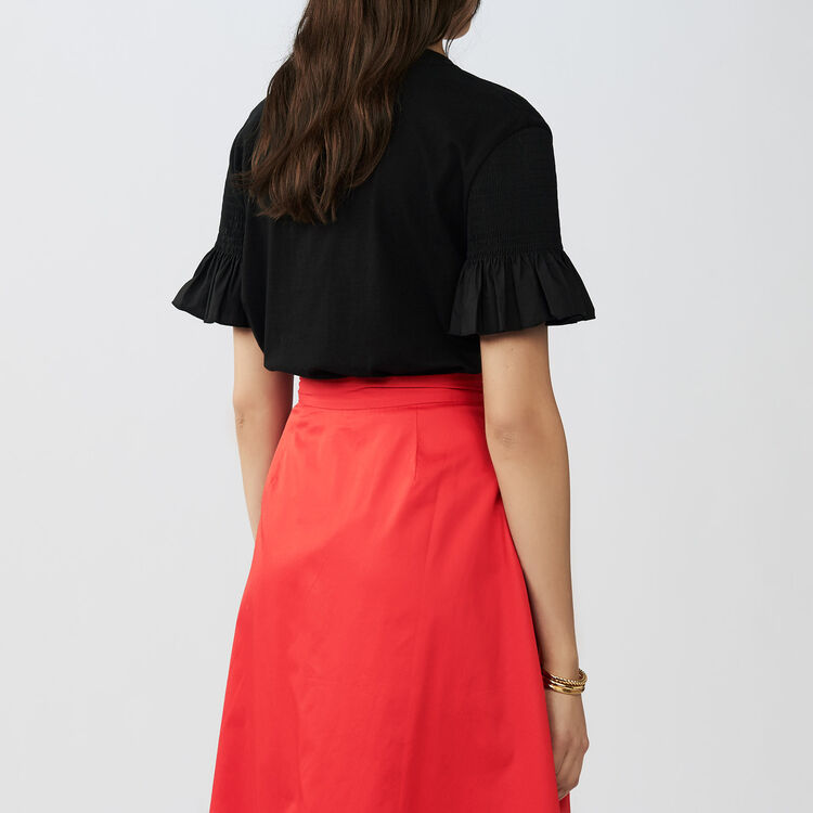 Tee-shirt avec volants en coton : Tops couleur Black