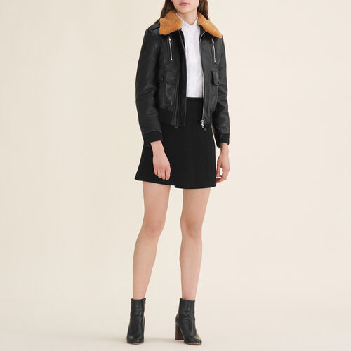 Aviator-style leather jacket : See all color Black 210