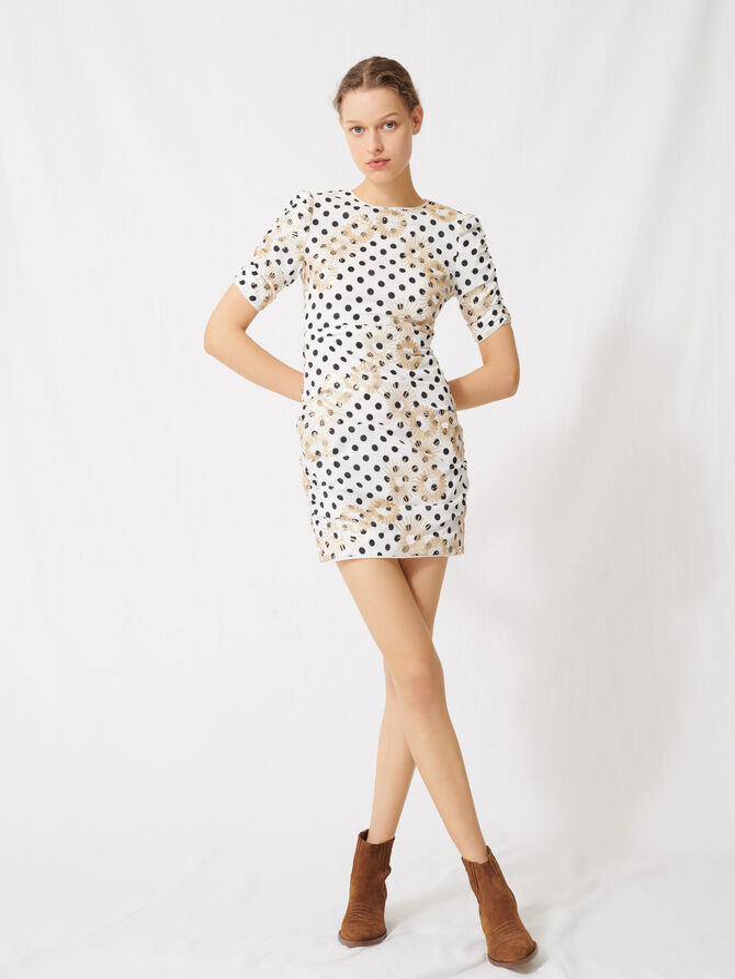 Polka dot and embroidered sequin dress -  - MAJE