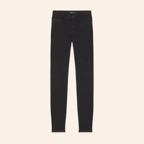 Jean slim en coton : Pantalons & Jeans couleur BLACK