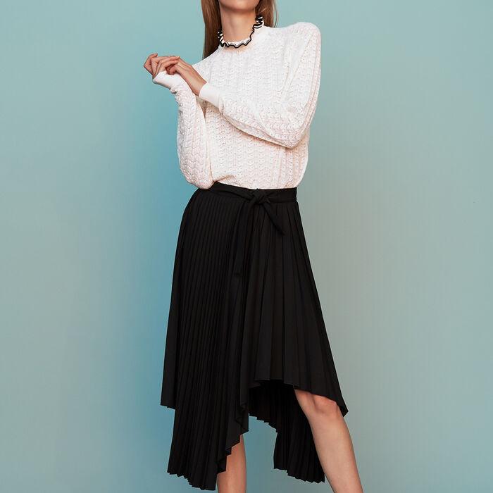 Jupe plissée asymétrique : Prêt-à-porter couleur Black
