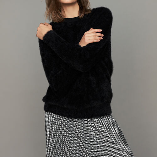 Faux-fur sweater : Ready to wear color Black 210