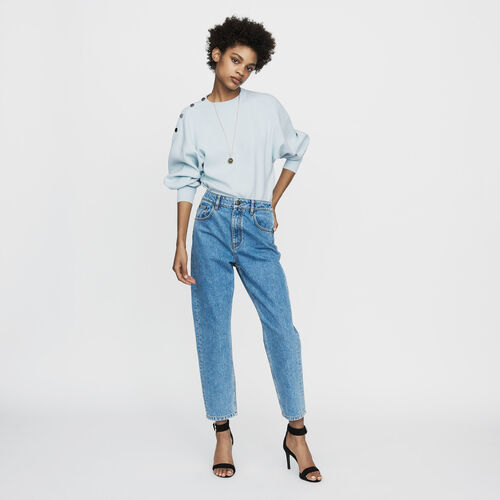 Wide denim jeans in faded denim : Jeans color Denim