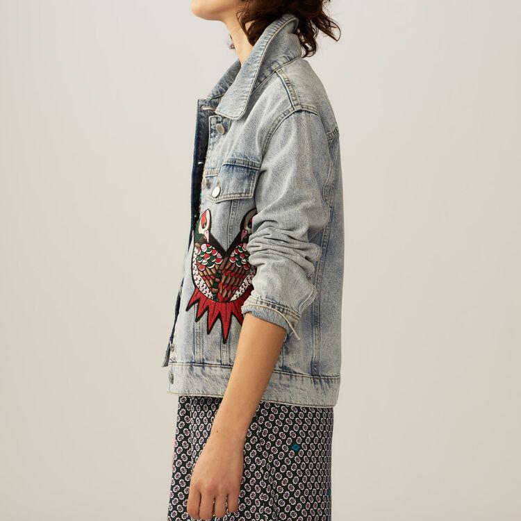 Veste en jean avec broderies : Blousons couleur Denim