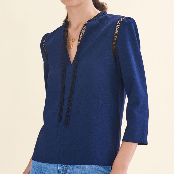 Blouse with braid trim - Shirts - MAJE
