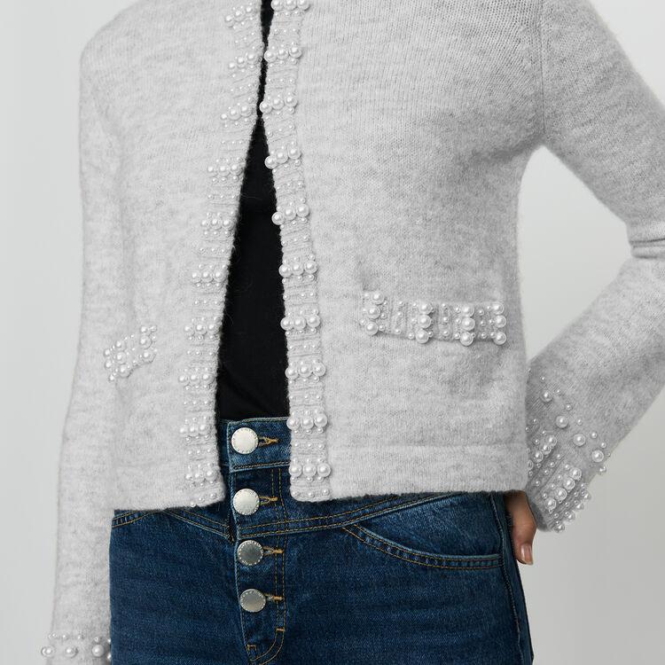 Cardigan en laine mélangée avec perles : Maille couleur Gris