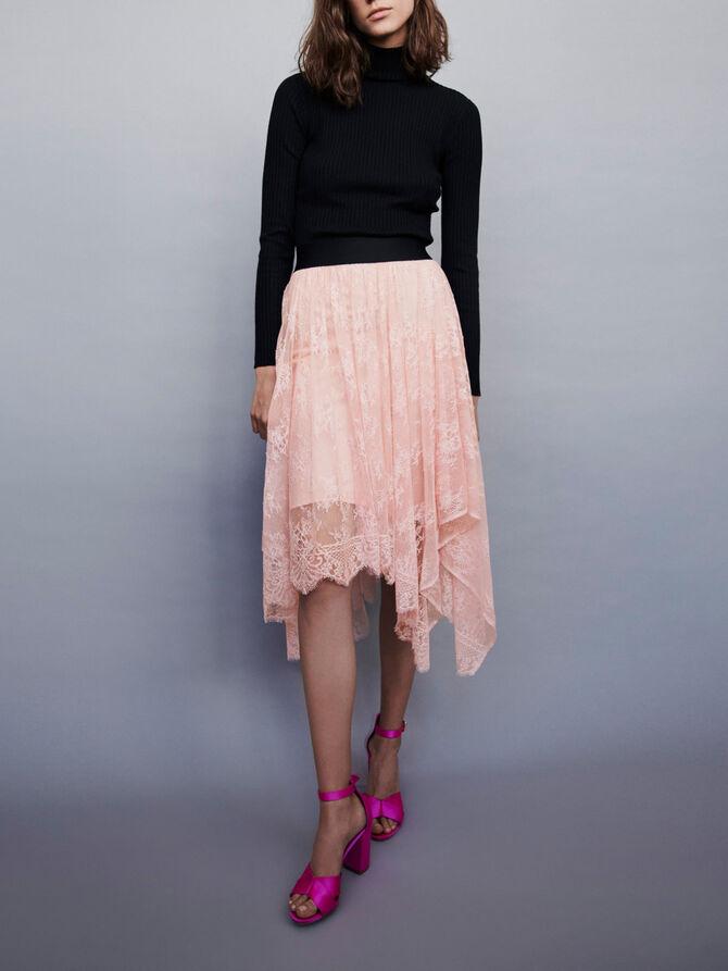 Elasticated asymmetrical lace skirt - remise - MAJE