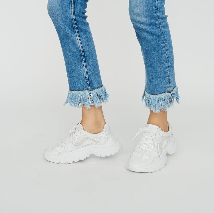 Jean droit avec franges : Jeans couleur Denim