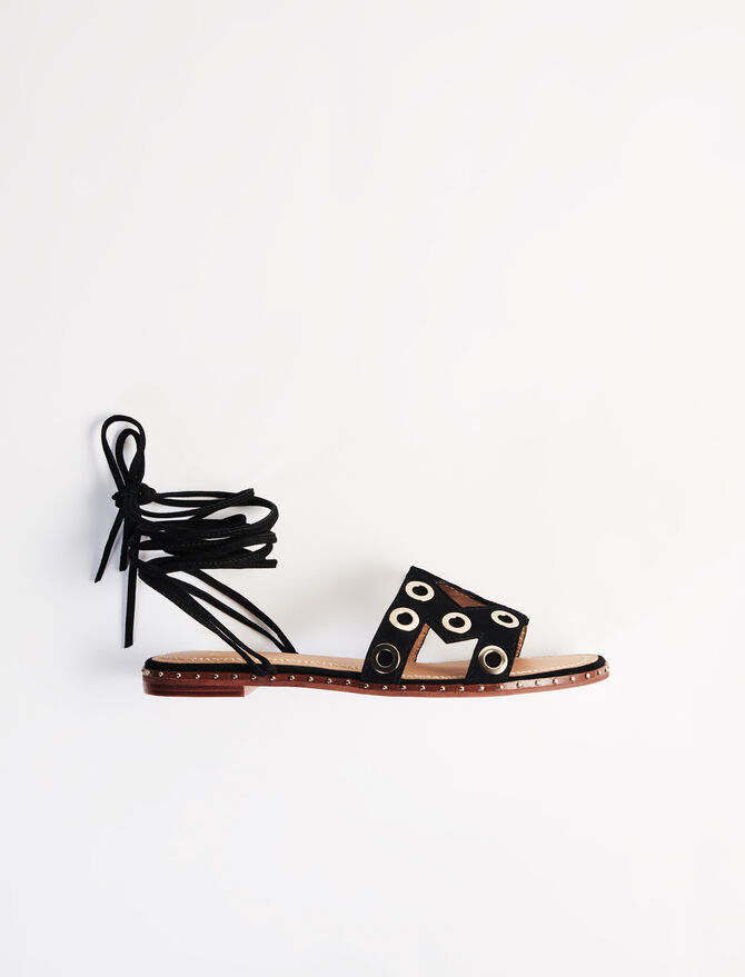Suede tie sandals with eyelets - New collection - MAJE