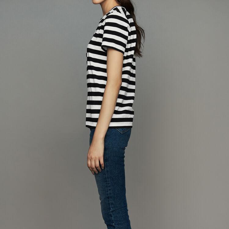 Tee-shirt en coton rayé avec écusson : Prêt-à-porter couleur Rayure