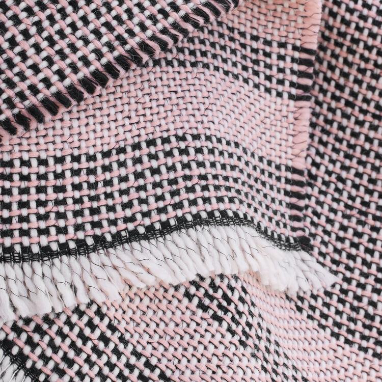 Poncho en maille fantaisie bicolore : Accessoires couleur ROSE