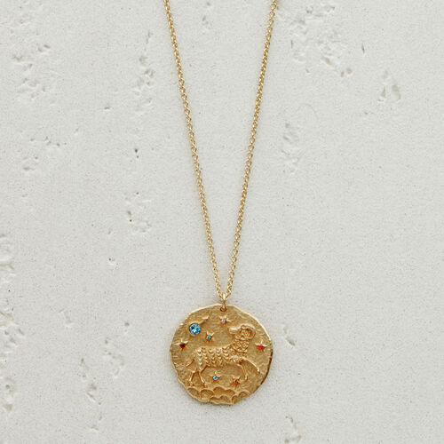 Aries zodiac sign necklace : Jewelry color GOLD