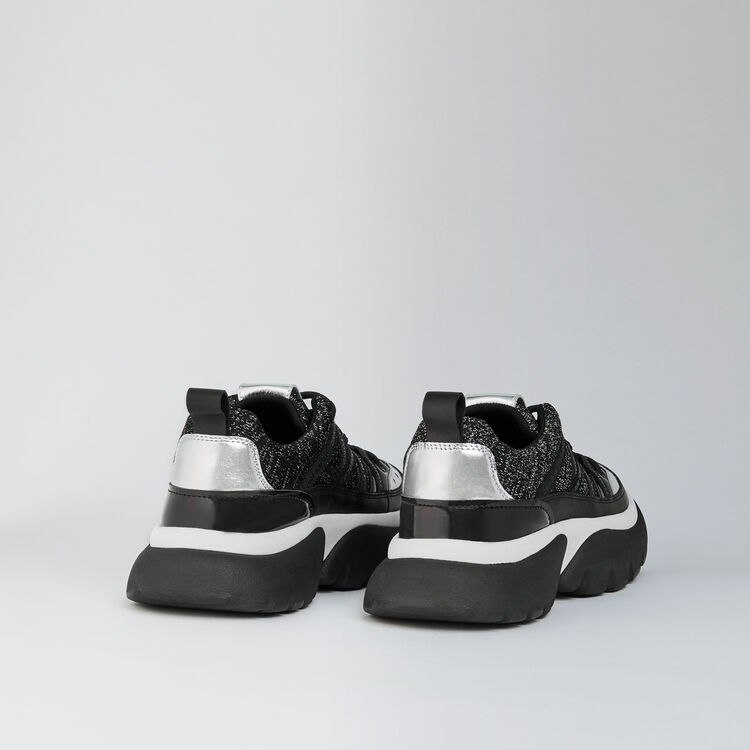 W20 leather and lurex sneakers : Sneakers color Black Lurex Silver