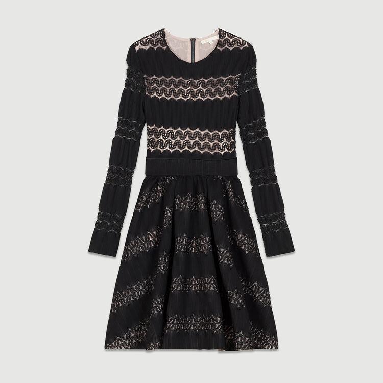 Robe corolle en maille avec guipure : Robes couleur BLACK
